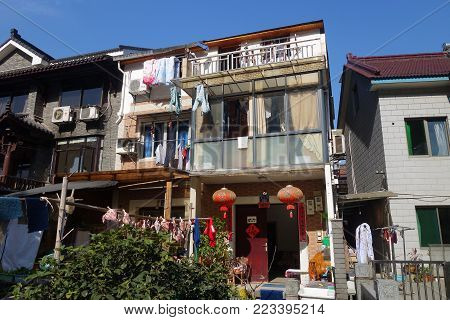 HANGZHOU, CHINA-JAN 14, 2018: View of typical house in a small village in Hangzhou, China