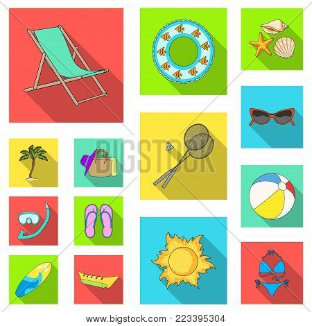 Summer rest flat icons in set collection for design. Beach accessory vector symbol stock  illustration.