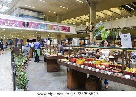 Belo Horizonte, Brazil - Dec 22, 2017: Brazilian style buffet pay by the kilo at Belo Horizonte's Aeroporto Internacional de Confins