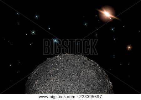 Moon and stars in space. Simple child-like planetary science and astronomy background meme image.
