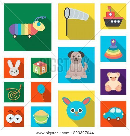 Children's toy flat icons in set collection for design. Game and bauble vector symbol stock illustration.