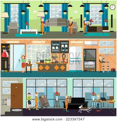 Vector set of posters, banners with loaders carrying sofa, tv, pushing cart with fridge, plumber fixing leaking water pipes. Plumbing, moving or delivery company services flat style design elements.