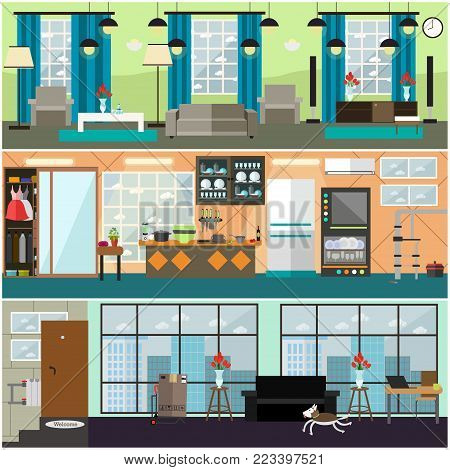 Vector set of posters, banners with living room, kitchen interior. Plumbing, moving and delivery company services flat style design elements.
