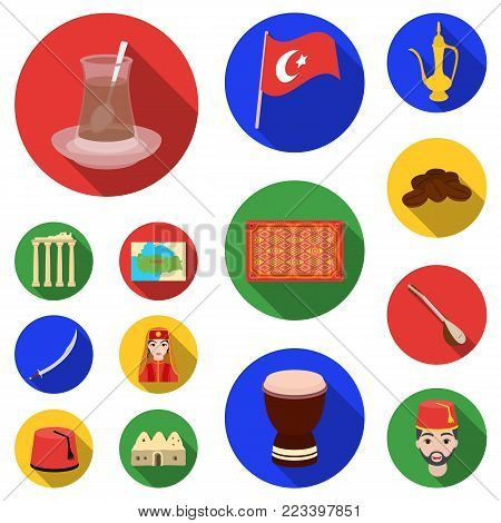 Turkey country flat icons in set collection for design.Travel and attractions vector symbol stock  illustration.