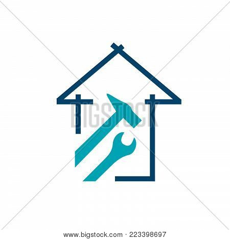 Abstract home repair illustrator. Creative home logo design idea. Home repair services icon design.