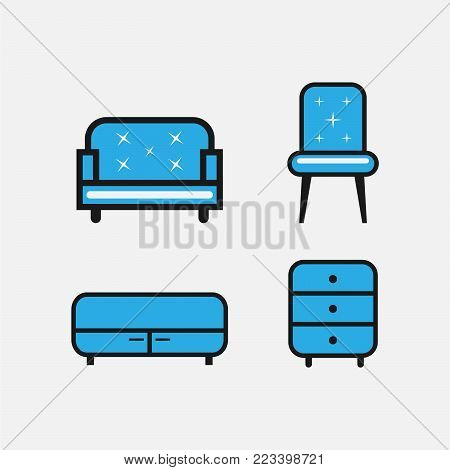Set of furniture and interior set icons in blue color design. Collection of office furniture and interior vector symbol stock illustration