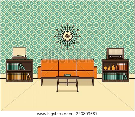 Living room in flat design. Retro room interior 60s in line art. Vector graphics. Linear illustration. Thin line home space with sofa, vinyl turntable and radio. House equipment 70s Vintage background