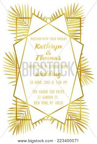 Wedding invitation card with gold geometric artdeco element and palm leaves. Luxury exotic A4 mock up, template for greeting, birthday, valentines cards, posters with text place.