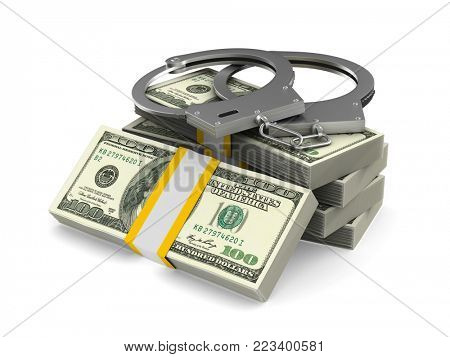 Handcuffs and money on white background. Isolated 3D illustration