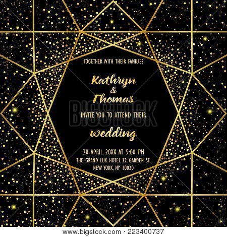 Wedding invitation card with gold geometric artdeco element and gold glitter. Luxury square mock up, template with festive confetti for greeting, birthday, valentines cards, posters with text place.