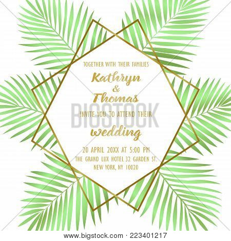 Wedding invitation card with gold geometric artdeco element and green palm leaves. Romantic exotic square mock up, template for greeting, birthday, valentines cards, posters with text place.