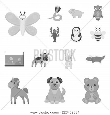 An unrealistic monochrome animal icons in set collection for design. Toy animals vector symbol stock illustration.