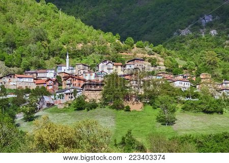 Small Macedonian muslim village located on a mountain near Albania