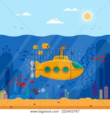 Yellow submarine with periscope underwater concept. Marine life with fish, coral, seaweed, colorful blue ocean landscape. Bathyscaphe template for banner, poster or flyer cover - flat vector illustration.