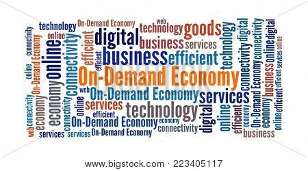 On-demand Economy in word collage