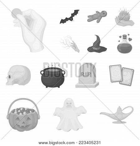 monochrome and white magic monochrome icons in set collection for design. Attributes and sorceress accessories vector symbol stock  illustration.