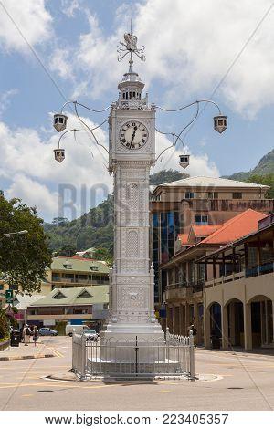 Clocktower in Victoria Mahe Seychelles picture portrait