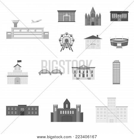 Building repair monochrome icons in set collection for design.Building material and tools vector symbol stock  illustration.