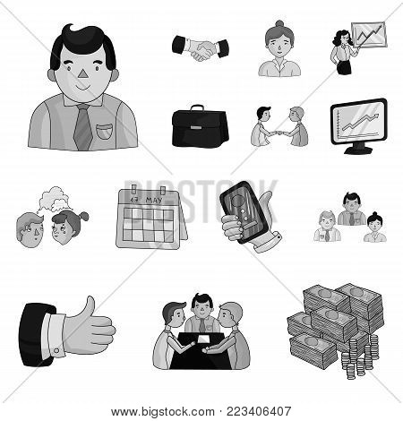 Business Conference And Negotiations monochrome icons in set collection for design.Business and training vector symbol stock  illustration.