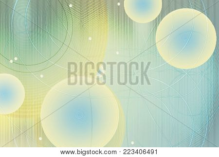 Abstract background. Technology of the network and the sphere of geometry. Glowing spheres, curved lines and dots. Futuristic technology, metallized view, digital image.