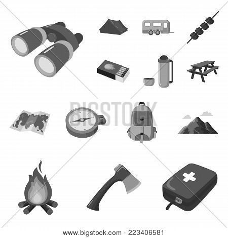 Rest in the camping monochrome icons in set collection for design. Camping and equipment vector symbol stock  illustration.