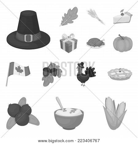 Canada Thanksgiving Day monochrome icons in set collection for design. Canada and Tradition vector symbol stock  illustration.