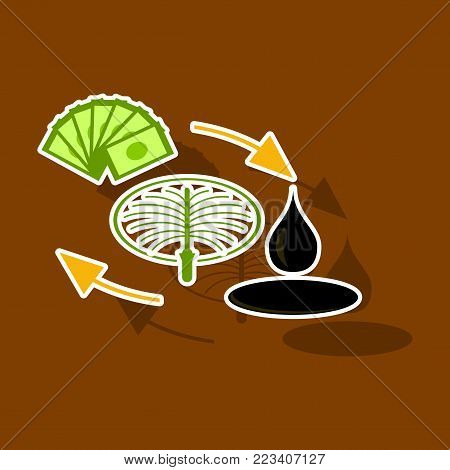 paper sticker on theme Arabic business sale of oil