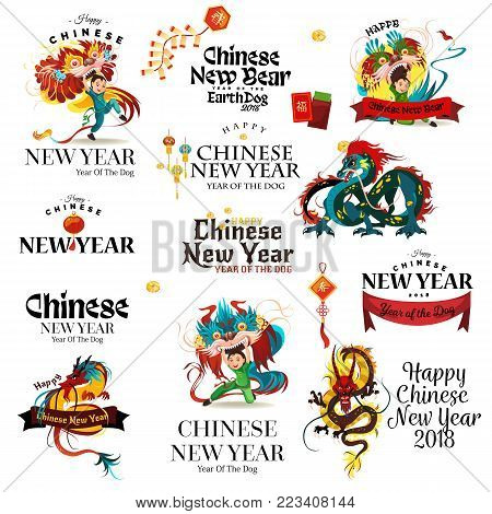 New Year of the Dog 2018 - lettering cards on white background. Traditional chinese Dragon, ancient symbol of asian or china culture, decoration, mythology animal vector illustration.