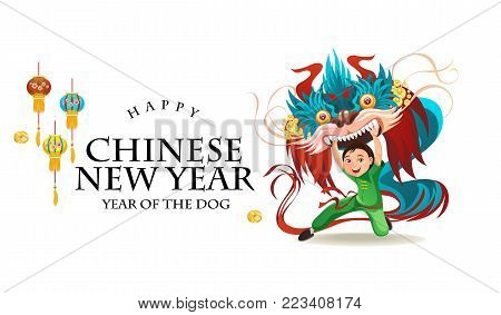 Chinese Lunar New Year Lion Dance Fight isolated on white background, happy dancer in china traditional costume holding colorful dragon mask on parade or carnival, cartoon style vector illustration.