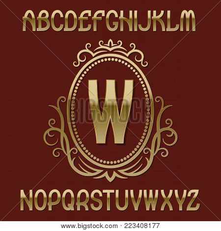 Golden initial monogram template on elliptic shield with wreath. Beautiful font and logo design elements.