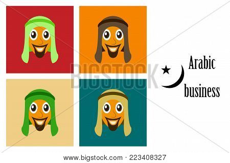 assembly of flat icons on theme Arabic business arabic man smiling