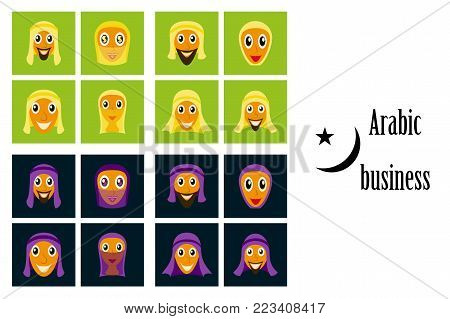 assembly of flat icons on theme Arabic business arabic people smiling