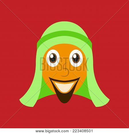 flat icons on theme Arabic business arabic man smiling