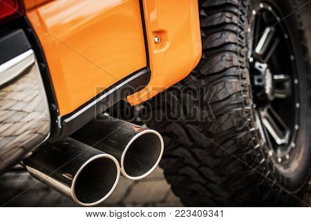 Extreme Off Road Trip Concept with Closeup on the Performance Offroading Vehicle.