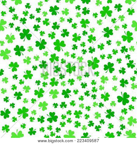 Bright green clover leaves, seamless pattern. Minimal vector background. Flat illustration of clover icon. St Patrick's Day background.