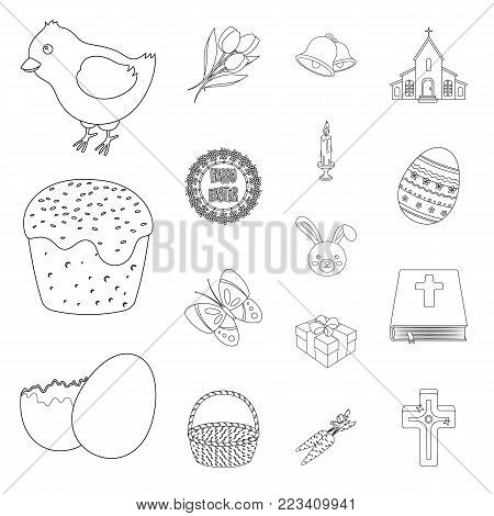 Easter is a Christian holiday outline icons in set collection for design. Easter attributes vector symbol stock  illustration.