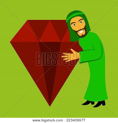 flat icon on theme Arabic business arabic man with a diamond