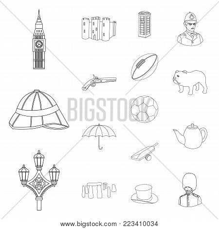 England country outline icons in set collection for design.Travel and attractions vector symbol stock  illustration.