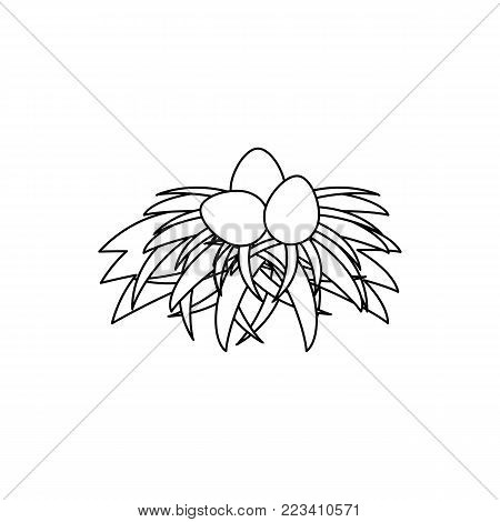 vector flat chicken hen brown eggs in hay nest isolated monochrome icon. Illustration on a white background. Farm poultry chicken objects for advertising, coloring book for children design