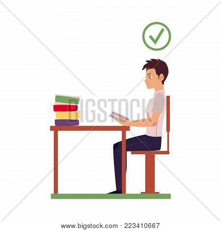 Correct neck and spine alignment of young cartoon man character sitting at desk reading. healthy head bending positions, inclination of neck. Spine care concept. Vector isolated illustration