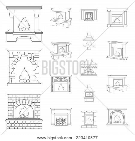 Different kinds of fireplaces outline icons in set collection for design.Fireplaces construction vector symbol stock  illustration.