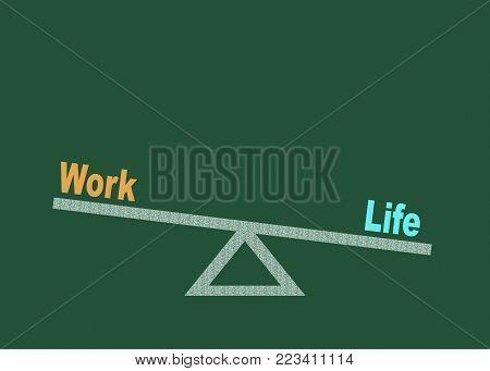 Balance between life and work on blackboard