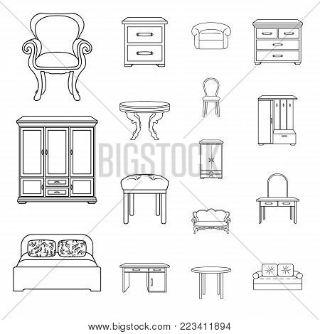 Furniture and interior outline icons in set collection for design.Home furniture vector symbol stock  illustration.