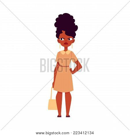 Vector flat adult african woman standing with dissatisfied, annoyed angry face expression, arm on waist in formal clothing. Female black character, isolated illustration on a white background.
