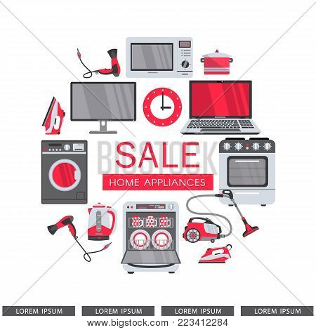 vector flat modern consumer electronics, home appliance sale icon set. Gas stove, dishwasher, washing machine, electric kettle or teapot, hair dryer, iron, vacuum cleaner, laptop, monitor clock.