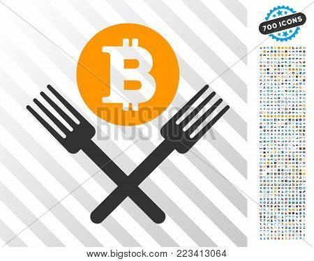 Bitcoin Forks pictograph with 700 bonus bitcoin mining and blockchain clip art. Vector illustration style is flat iconic symbols designed for bitcoin websites.