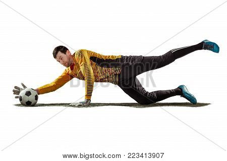 THe one soccer player goalkeeper man catching ball. The silhouette isolated on white background