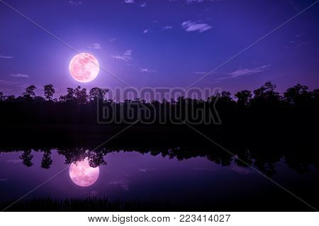 Beautiful landscape of colorful sky and clouds. Full moon with reflection above silhouette of trees and river. Serenity nature in gloaming time. Outdoors at nighttime.