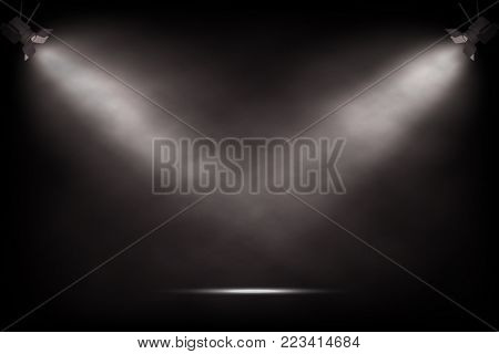 Vector realistic vintage spotlights. Theater or show stage background