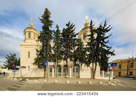 Jerusalem, Israel - Feb 04, 2017: Trinity Cathedral of a Russian Ecclesiastical Mission in Jerusalem